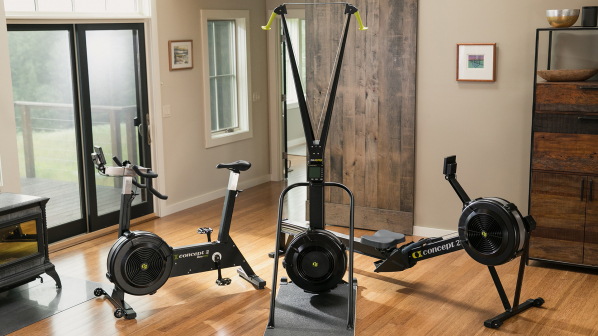 Home with all three Concet2 ergs